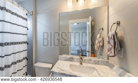 Pano Small Bathroom Inside A Room With Ambient Lightnings And Bathtub