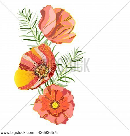 An Illustration With A Place For The Inscription, Beautiful Exquisite Poppies And Branches Of Curly