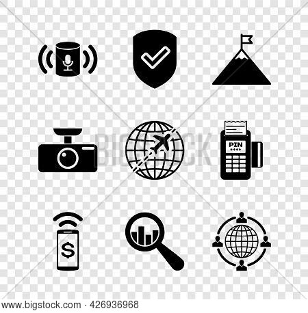 Set Voice Assistant, Shield With Check Mark, Mountains And Flag, Contactless Payment, Magnifying Gla