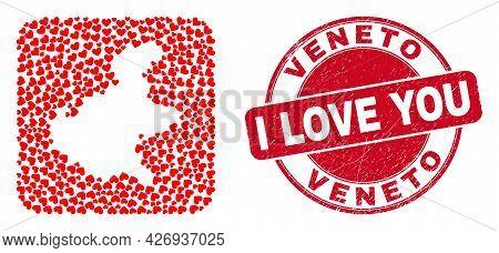 Vector Mosaic Veneto Region Map Of Love Heart Elements And Grunge Love Seal. Mosaic Geographic Venet