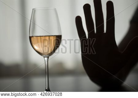 Stop Alcohol. Wine Glass. Alcohol Stop. Depression.