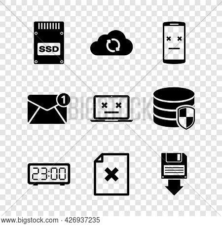 Set Ssd Card, Cloud Sync Refresh, Dead Mobile, Digital Alarm Clock, Delete File Document And Floppy