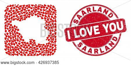 Vector Mosaic Saarland Land Map Of Lovely Heart Items And Grunge Love Stamp. Mosaic Geographic Saarl