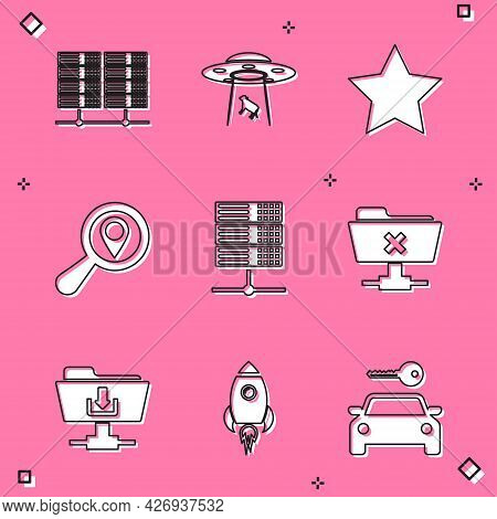 Set Server, Data, Web Hosting, Ufo Abducts Cow, Star, Search Location, And Ftp Cancel Operation Icon