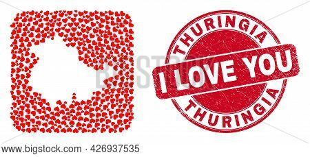 Vector Collage Thuringia Land Map Of Lovely Heart Elements And Grunge Love Seal. Collage Geographic