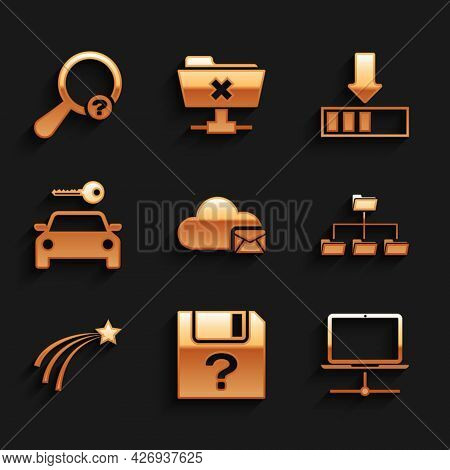 Set Cloud Mail Server, Unknown Document, Computer Network, Folder Tree, Falling Star And Car Rental