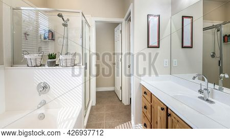 Pano Interior Of A Bathroom With Craftsmans Style Vanity
