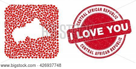 Vector Mosaic Central African Republic Map Of Love Heart Elements And Grunge Love Badge.