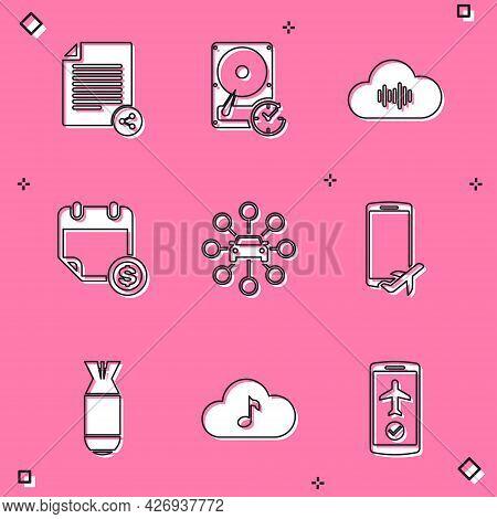 Set Share File, Hard Disk Drive With Clockwise, Music Streaming Service, Financial Calendar, Car Sha