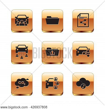Set Car Sharing, Co2 Emissions Cloud, , Folder Upload, And Share File Icon. Vector