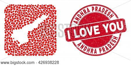 Vector Mosaic Andhra Pradesh State Map Of Love Heart Items And Grunge Love Stamp. Mosaic Geographic