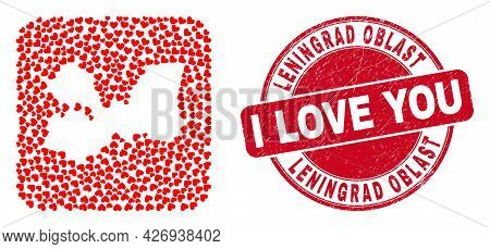 Vector Collage Leningrad Region Map Of Valentine Heart Elements And Grunge Love Badge. Collage Geogr