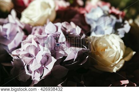 Bouquet Of Roses And Hydrangeas