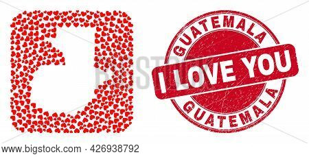 Vector Collage Guatemala Map Of Love Heart Elements And Grunge Love Badge. Collage Geographic Guatem