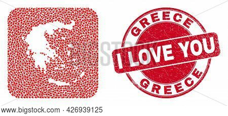 Vector Mosaic Greece Map Of Love Heart Elements And Grunge Love Seal. Mosaic Geographic Greece Map C