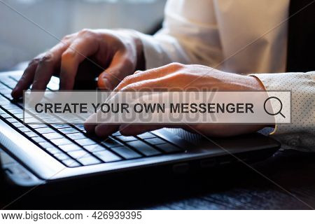 Create Your Own Messenger - A Beginner Programmer Enters Information On A Laptop On The Internet.