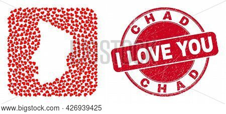 Vector Collage Chad Map Of Love Heart Items And Grunge Love Seal Stamp. Collage Geographic Chad Map