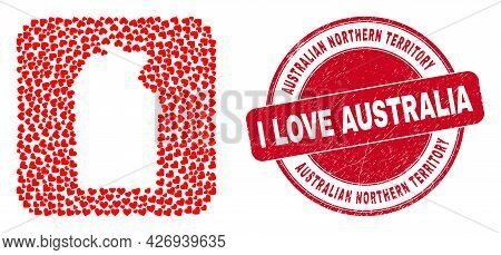 Vector Collage Australian Northern Territory Map Of Valentine Heart Items And Grunge Love Seal Stamp