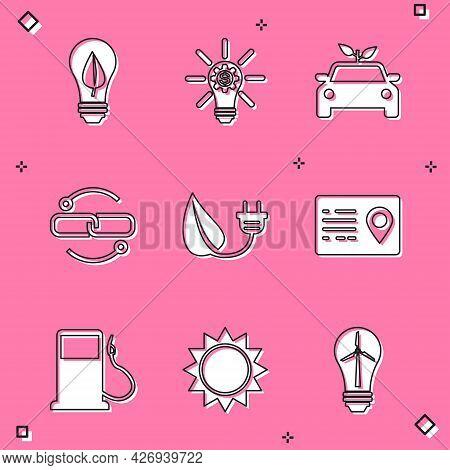 Set Light Bulb With Leaf, Gear, Eco Car Concept Drive, Chain Link Line, Electric Saving Plug, Addres