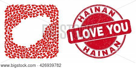 Vector Collage Hainan Map Of Love Heart Elements And Grunge Love Seal Stamp. Collage Geographic Hain