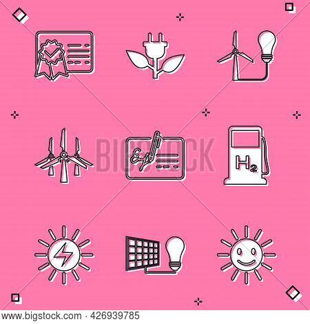 Set Certificate Template, Electric Saving Plug In Leaf, Light Bulb With Wind Turbine, Wind Turbines,