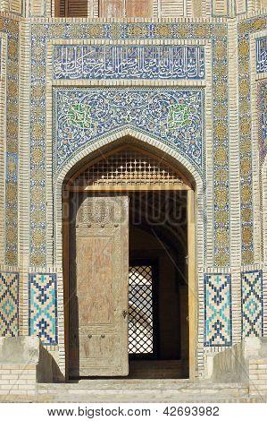 Historic gate to madrassa Miri Arab, Bukhara, Uzbekistan poster