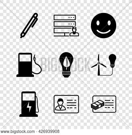Set Pen, Customer Care Server, Smile Face, Electric Charging Station, Identification Badge, Financia