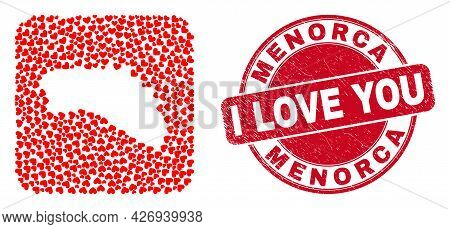 Vector Mosaic Menorca Island Map Of Love Heart Items And Grunge Love Seal Stamp. Mosaic Geographic M