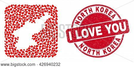 Vector Collage North Korea Map Of Lovely Heart Elements And Grunge Love Stamp. Mosaic Geographic Nor