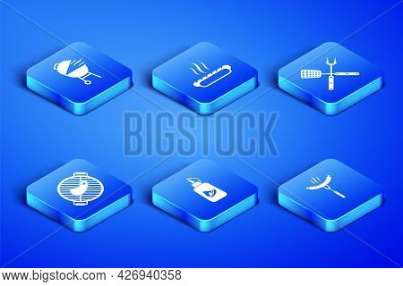 Set Sausage On The Fork, Barbecue Grill, Ketchup Bottle, With Steak, Hotdog Sandwich And Crossed Spa