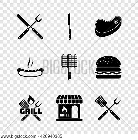 Set Crossed Fork And Knife, Barbecue, Steak Meat, Spatula, Shopping Building, Hotdog Sandwich And St
