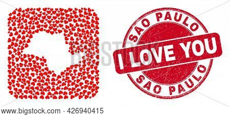 Vector Mosaic Sao Paulo State Map Of Love Heart Items And Grunge Love Seal. Mosaic Geographic Sao Pa