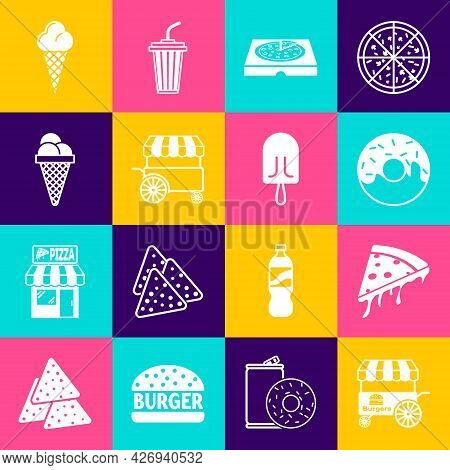 Set Fast Street Food Cart, Slice Of Pizza, Donut, Pizza In Cardboard Box, Ice Cream Waffle Cone, And