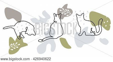 Mid Century Art Poster. Continuous One Line Cats.feline In Different Poses. Abstract Freehand Backgr