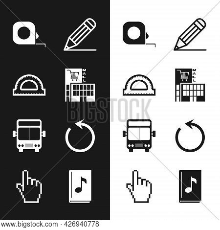 Set Mall Or Supermarket Building, Protractor Grid, Roulette Construction, Pencil And Line, Bus, Refr