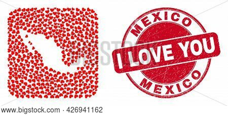 Vector Mosaic Mexico Map Of Valentine Heart Items And Grunge Love Seal Stamp. Mosaic Geographic Mexi