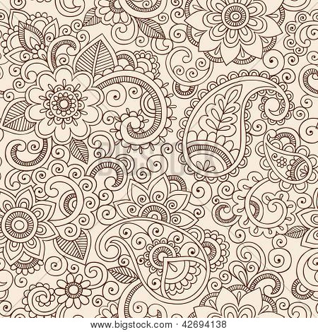 Mehndi Henna Tattoo Doodles naadloze patroon - Paisley bloemen illustratie ontwerpelementen