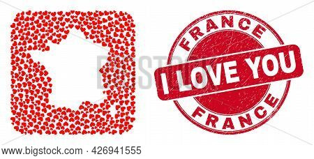 Vector Mosaic France Map Of Love Heart Items And Grunge Love Badge. Mosaic Geographic France Map Cre