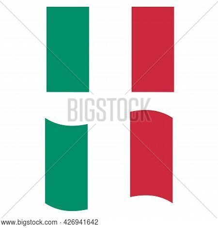Italy Flag. National Flag Of Italy Sign. Waving Flag Of Italy Symbol. Flat Style.