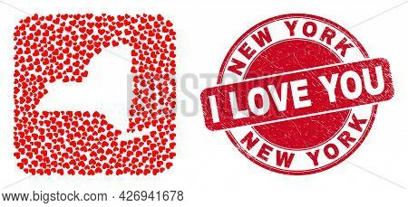 Vector Mosaic New York State Map Of Love Heart Items And Grunge Love Seal Stamp. Mosaic Geographic N