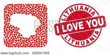 Vector Mosaic Lithuania Map Of Lovely Heart Elements And Grunge Love Seal Stamp. Mosaic Geographic L