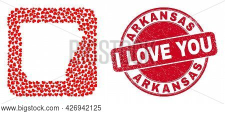Vector Mosaic Arkansas State Map Of Valentine Heart Elements And Grunge Love Stamp. Mosaic Geographi