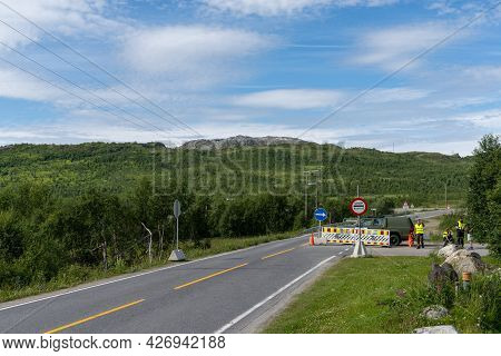 Umbuktu, Norway - 14 July, 2021: Border Crossing And Check Point In Northern Norway With Military An