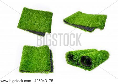 Collage Of Artificial Plastic Turf Cover,set Plastic Green Covering For Sports Fields Illustration.