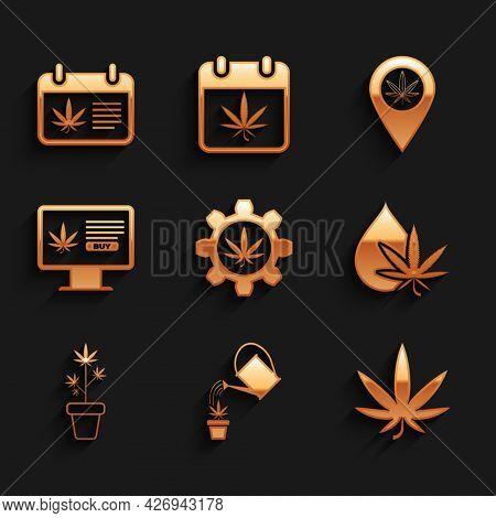 Set Test Tube With Marijuana, Watering Can, Marijuana Or Cannabis Leaf, Oil, Plant Pot, Online Buyin