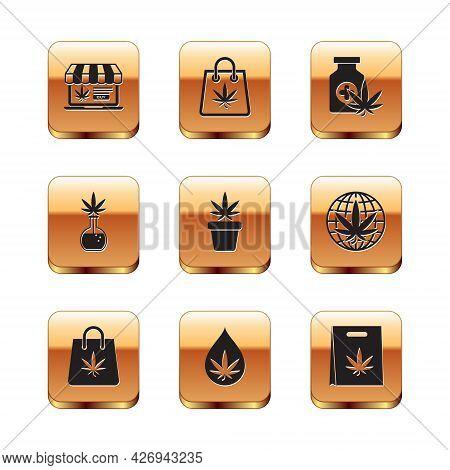 Set Online Buying Marijuana, Shopping Bag Of, Marijuana Or Cannabis Leaf Oil, Plant Pot, Test Tube W