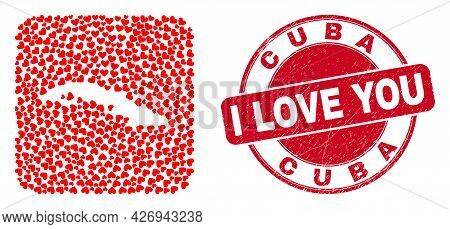Vector Collage Cuba Map Of Lovely Heart Items And Grunge Love Seal Stamp. Collage Geographic Cuba Ma