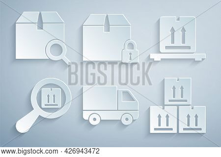 Set Delivery Cargo Truck Vehicle, Cardboard Boxes On Pallet, Search Package, With Traffic, Locked An