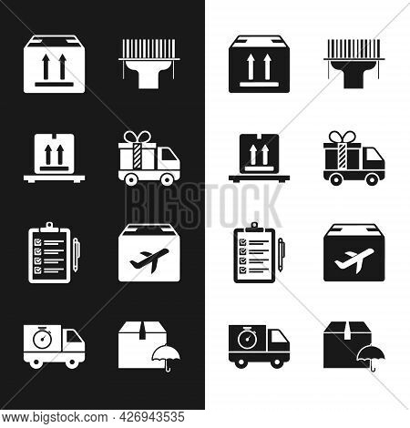 Set Delivery Truck With Gift, Cardboard Boxes On Pallet, Traffic, Scanner Scanning Bar Code, Verific