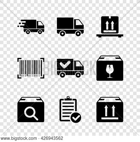 Set Delivery Truck In Movement, Cargo Vehicle, Cardboard Boxes On Pallet, Search Package, Verificati